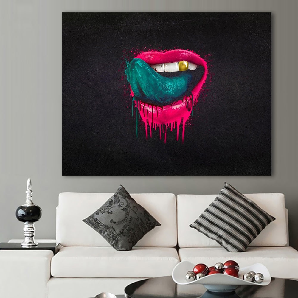 The Red Lips Painting Canvas Oil Painting No Frame Modern Pop Art Home/ClinicDecor - Dental Desire.com