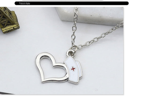 Love Heart Nurse Cap Pendant Necklace For Doctor Nurse Gift Medical Jewelry - Dental Desire.com