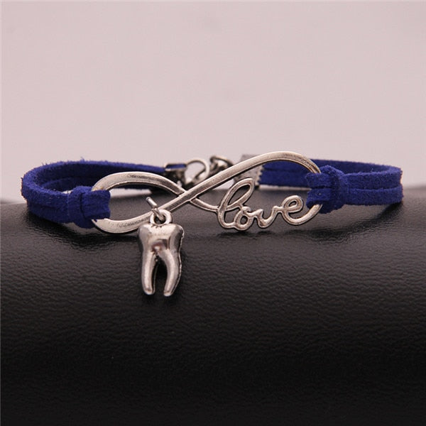 (10Pcs/Lot) Infinity Love tooth charm braided bracelet & bangles wrap rope wristband  jewelry 8colors - Dental Desire.com