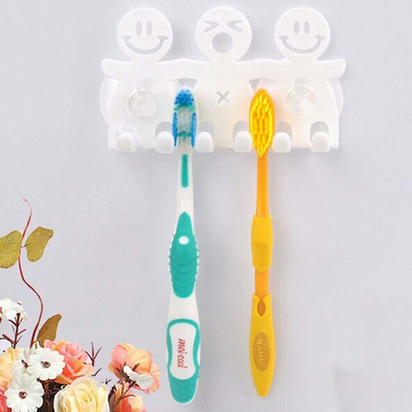 Cute Design Smile 5 Tooth Brush Holder With Suction Hooks For Bathroom - Dental Desire.com
