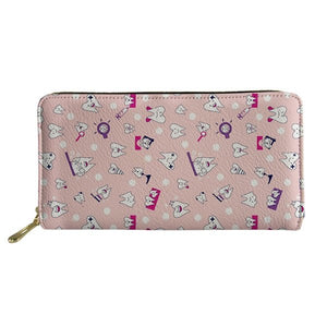 Cute Cartoon Tooth Print Long PU Leather Purse for women - Dental Desire.com