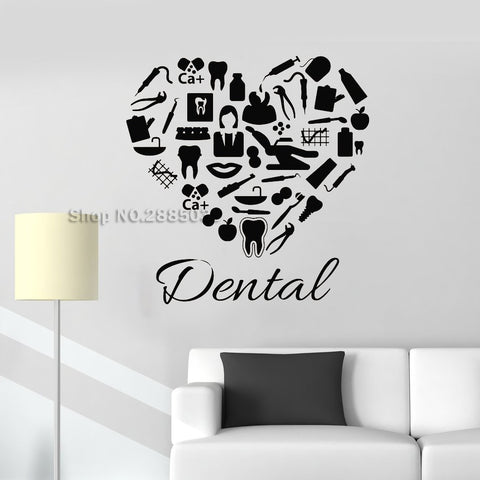 New Creative Dental Clinic Heart Wall Sticker Decal - Dental Desire.com