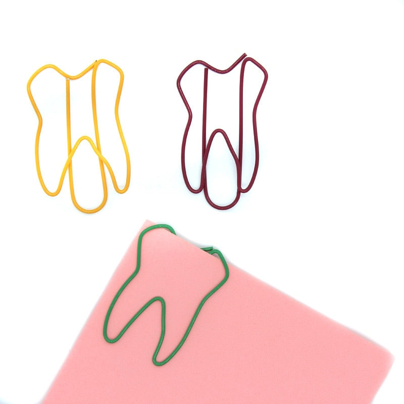 Tooth Shape Bookmarks Metal Clips for Office Stationery (50Pcs) - Dental Desire.com