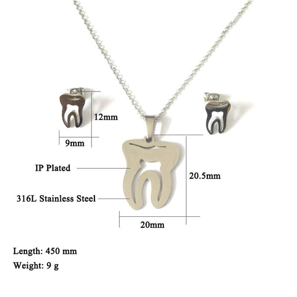 Tooth Pendant Necklace And Tooth Earrings Jewelry Set For Dentist Gift - Dental Desire.com