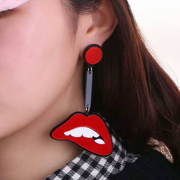 Women Long Red mouth Tooth Acrylic Stud Earrings - Dental Desire.com