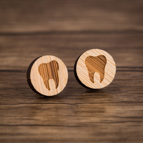 Beautiful Tooth Design wooden Earrings - Dental Desire.com