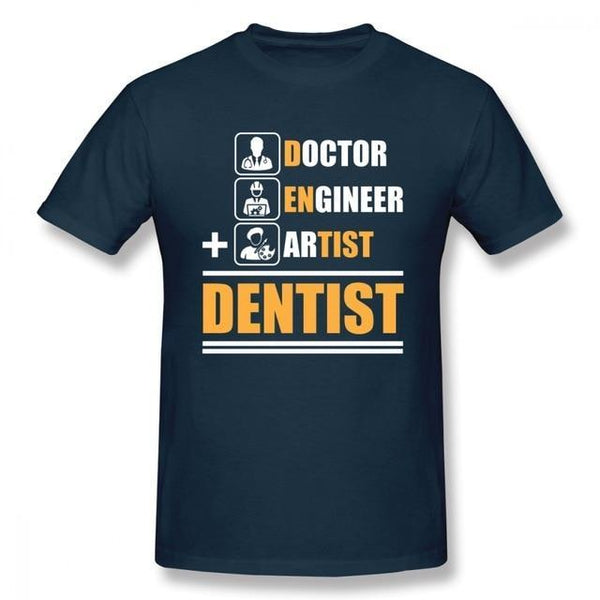 Doctor + Engineer + Artist = Dentist Print Pure Cotton T-shirt - Dental Desire.com