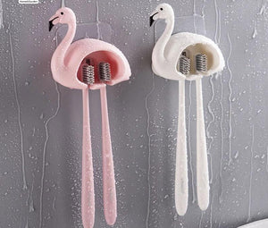 1pcs Flamingo Design Toothbrush Holder Suction Hooks Wall Bathroom - Dental Desire.com