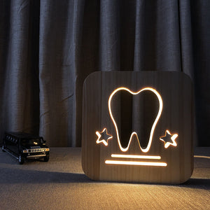 Wooden LED hollow tooth design warm light lamp - Dental Desire.com