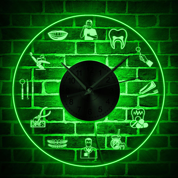 Dental Care Logo LED Neon Sign Wall Clock - Dental Desire.com