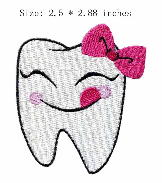 "Smiling tooth 2.5""wide embroidery  for sewing on/iron on - Dental Desire.com"
