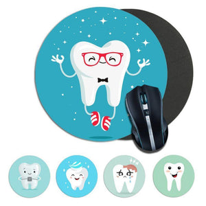 Cute white teeth Computer  round Mousemats Size for 200*200 - Dental Desire.com