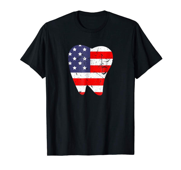 American Flag tooth printed T-shirt - Dental Desire.com