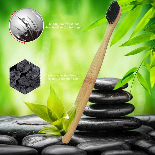 5/2/1 Pcs Natural Charcoal bristles Pure Bamboo Toothbrushes - Dental Desire.com