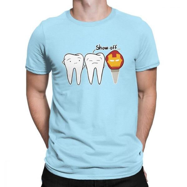 Men's Show-off Dental Implant Tooth T-Shirts  Round Neck Short Sleeve - Dental Desire.com