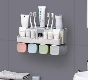 toothbrush holder toothpaste dispenser bathroom accessories sets 5 pcs bathroom storage box - Dental Desire.com