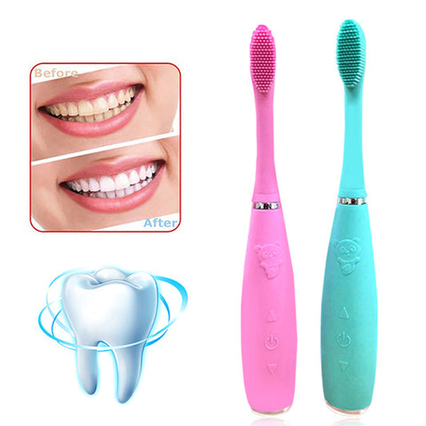 Silicone Electric Tooth Brush Rechargeable Wave Tooth Brush For Teeth Whitening - Dental Desire.com