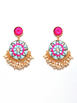 Matte Gold Finish Zari & Silk Circular Earrings By Bauble Bazar L1261