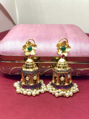 Kripaapranay Gold Plated Jharokha Earrings L1183 - SIA Jewellery