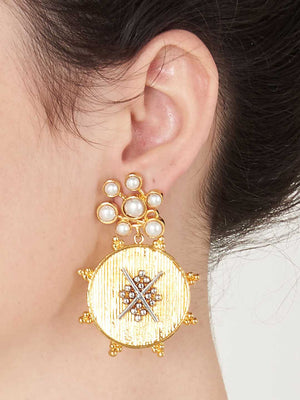 Pearl Sparkle With Gold Grid Earrings by Digna Jewellery L1204 - SIA Jewellery