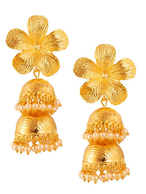 Double Flower Jhumka Earrings by Digna Jewellery L1214-SIA Jewellery