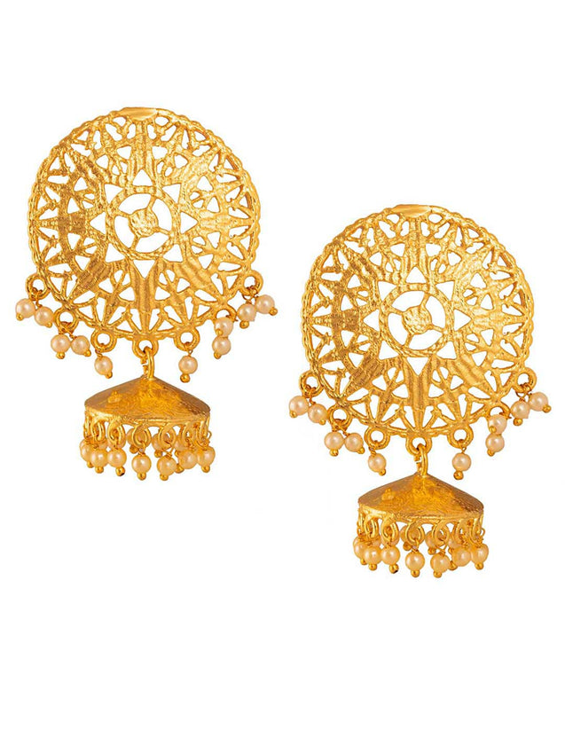 Filigree Shield With Small Jhumka Earrings by Digna Jewellery L1222 - SIA Jewellery