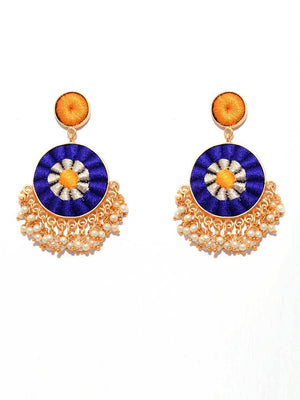 Matte Gold Finish Zari & Silk Circular Earrings By Bauble Bazar L1262