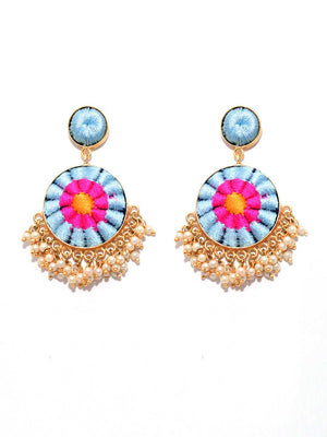 Matte Gold Finish Zari & Silk Circular Earrings By Bauble Bazar L1264