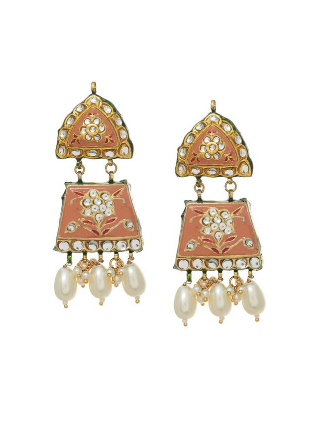 Peach Meenakari earrings By Maisara L1386-SIA Jewellery