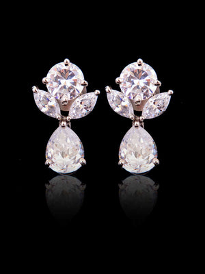 92.5% Silver Petal And Solitaire Diamond Earrings By Treszuri L1427-SIA Jewellery