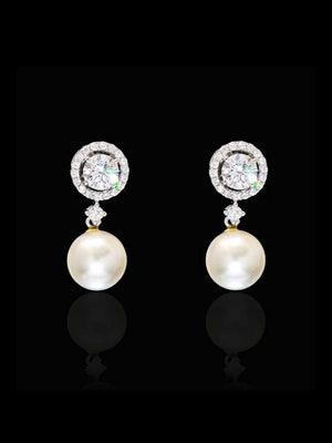 92.5% Silver Solitaire Diamond with Pearl drop Earrings By Treszuri L1448-SIA Jewellery