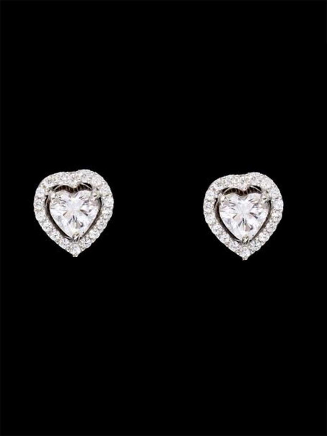 92.5% Silver Heart Solitaire with Halo Studs By Treszuri L1451-SIA Jewellery
