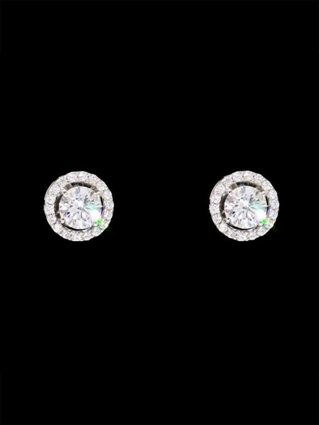 92.5% Silver Round Solitaire with Halo Studs By Treszuri L1452-SIA Jewellery