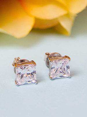 92.5% Silver Princess solitaire Stud Earrings By Treszuri L1454-SIA Jewellery