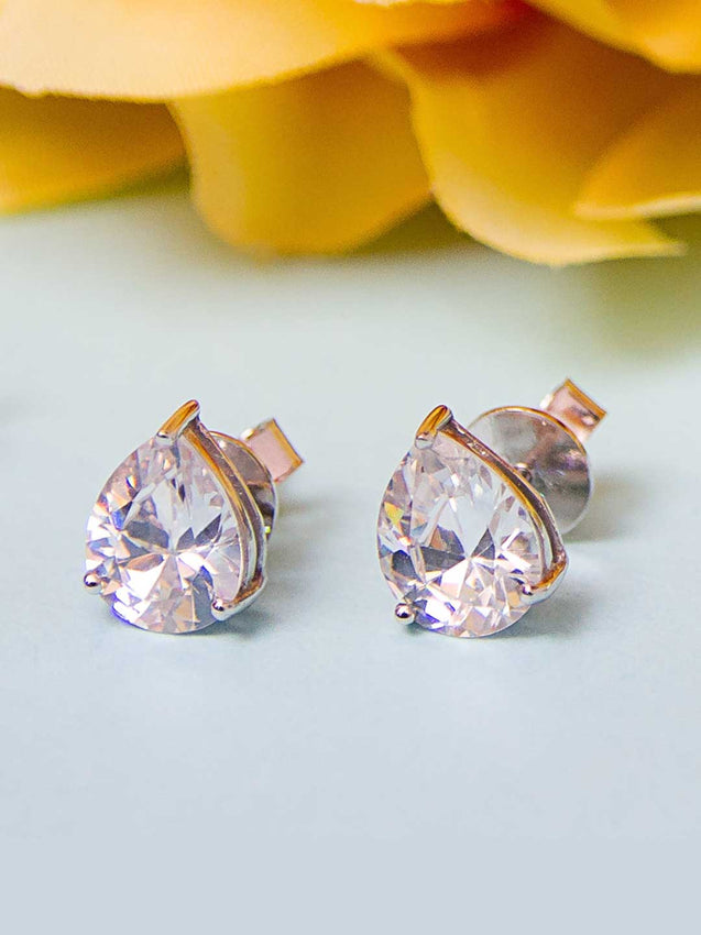 92.5% Silver Pear solitaire Stud Earrings By Treszuri L1455-SIA Jewellery