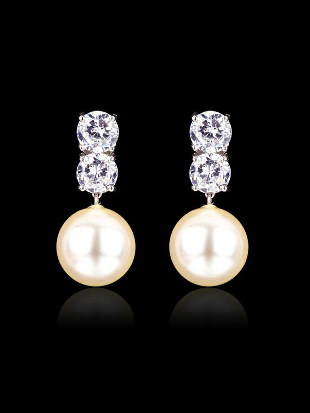 92.5% Silver Twin Solitaire with Pearl Drop Earrings By Treszuri L1457-SIA Jewellery