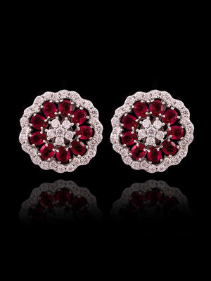 92.5% Silver Classic Floral Ruby And Diamond Stud Earrings By Treszuri L1464-SIA Jewellery