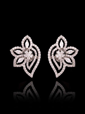 92.5% Silver Diamond Traditional Floral Stud Earrings By Treszuri L1467-SIA Jewellery