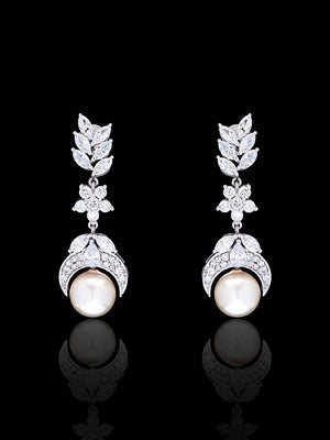 92.5% Silver Marquise Diamond and Pearl Drop Dangling Earrings By Treszuri L1470-SIA Jewellery