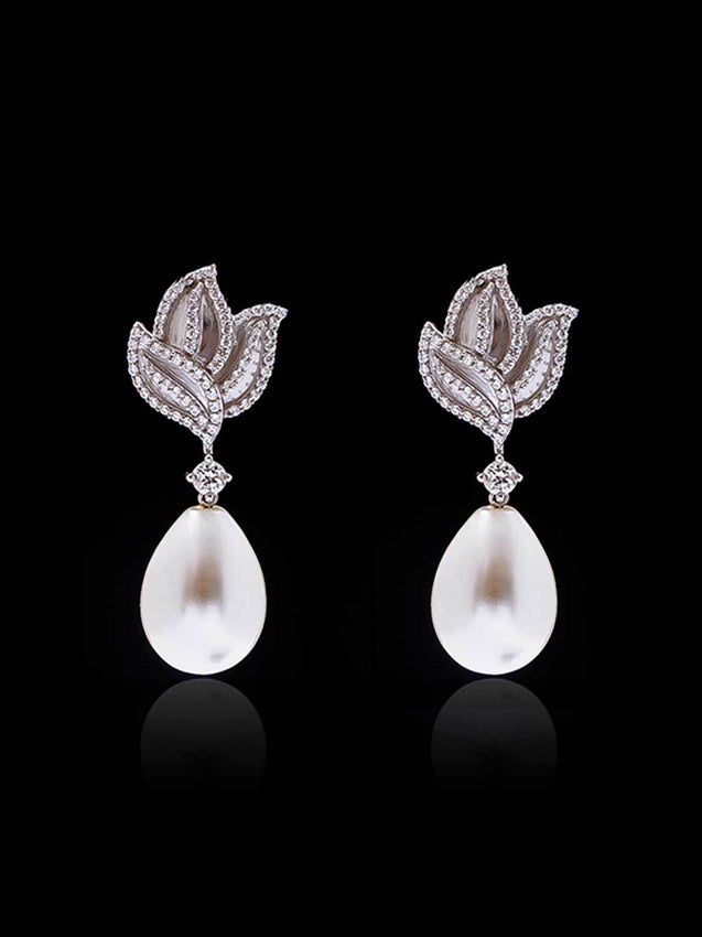 92.5% Silver Lotus Diamond Earrings With Pearl Drop By Treszuri L1472-SIA Jewellery