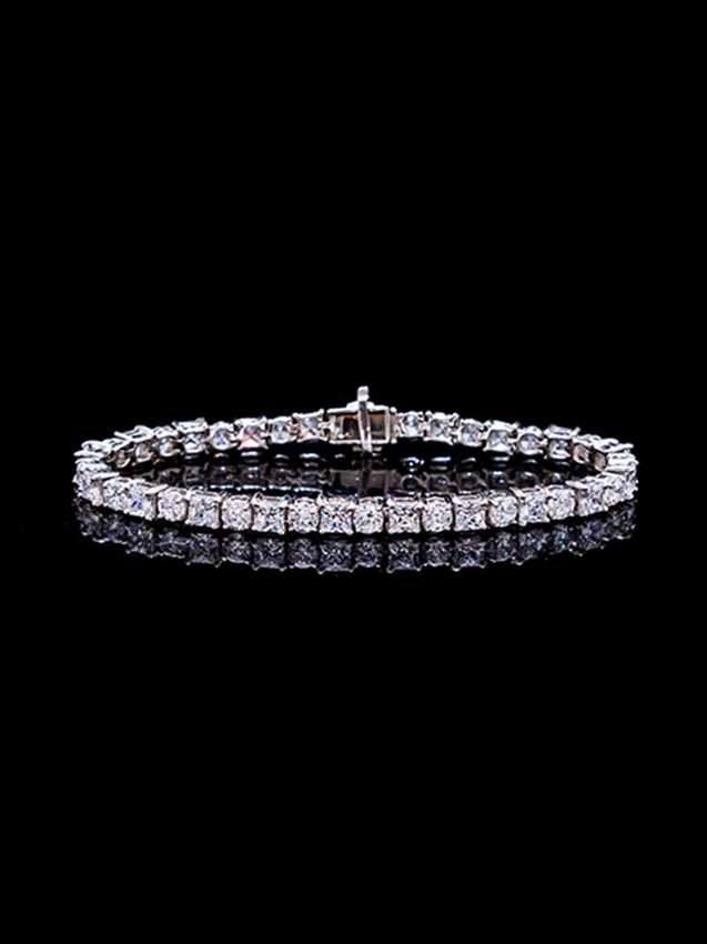 92.5% Silver Princess Cut and Round Diamond Tennis Bracelet By Treszuri L1478-SIA Jewellery