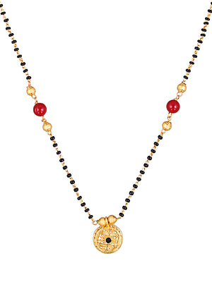 Gold-Plated & Black Stone-Studded Mangalsutra MT331 - SIA Jewellery