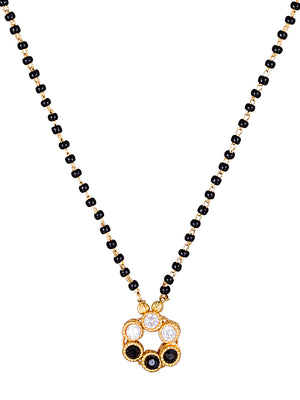 Gold-Toned & Black Beaded Mangalsutra MT334 - SIA Jewellery