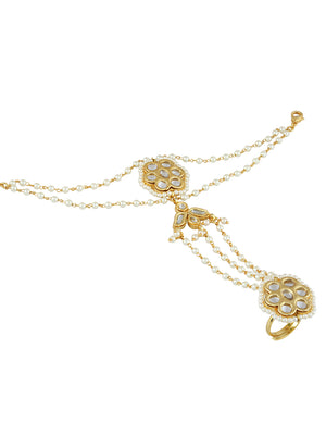Gold-White Plated Ethnic Wear Bracelet S19945 - SIA Jewellery