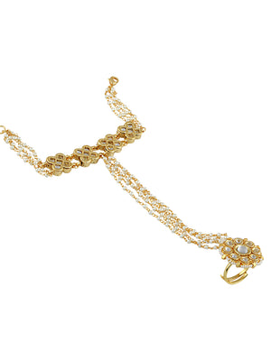Gold-White Plated Ethnic Wear Bracelet S19946