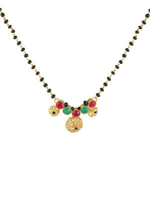 Gold-Plated, Black & Multicoloured Stone-Studded Mangalsutra S20313 - SIA Jewellery
