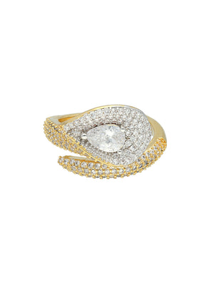 Gold-Plated Silver-Toned CZ-Studded Finger Ring S20361 - SIA Jewellery