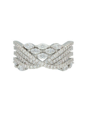 Silver-Toned CZ-Studded Finger Ring S20364 - SIA Jewellery