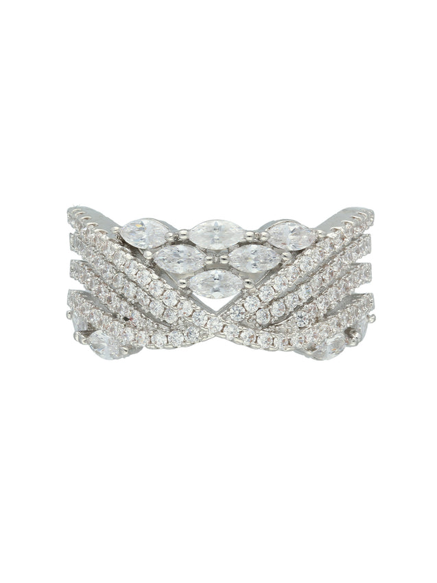 CZ Hexa White Stone Finger Ring S20364