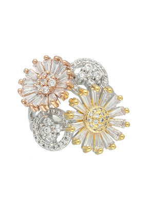 CZ Bugget Stone Floral Finger Ring S20367